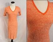 Orange Ribbed Short Sleeve Knee Length 1970s Wiggle Stretchy Dress Small Medium