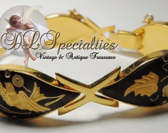 Damascene Bird and Floral Vintage Bracelet Silver Gold Enamel Copper