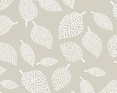 Lotta Jansdotter Mormor Collection Nopp in Mist - One Yard - Modern Gray Floral Leaves Fabric Windham Fabrics