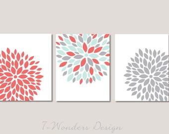 Floral Bursts Botanicals Wall Art Print Set of (3) 5 x 7, 8 x 10 or 11 x 14 // Coral, Mint,Gray // Modern Home Decor