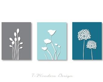 Modern Flower Digital Fine Art Prints - Poppy, Bursts, Reeds - Set of (3)  Prints - Blues and Gray Colors // 5x7 OR 8x10 // Modern Wall Art