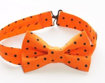 Bow Tie - Orange & Black Polka Dot Bowtie