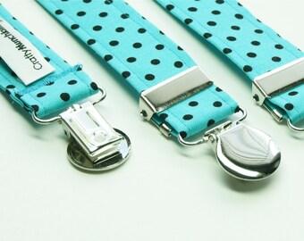 Suspenders - Turquoise with Black Polka Dots Adjustable Suspenders