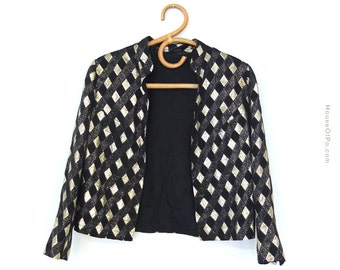 80's blazer, diamond print blazer, black and gold blazer, vintage blazer, retro blazer