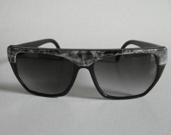 Vintage Shiny Black & Shiny Black Marble Browline Angular Frame Sunglasses