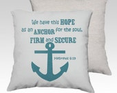 """18"""" X18"""" Distressed Stamped  """"Anchor of Hope"""" Scripture Verse Pillow Zippered Cover / Case quote w/ anchor Silhouette.SUPER Luxurious Soft!"""