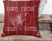 """Throw Pillow Cover / case Zippered 18""""x18"""" Farm Fresh sign on Country Red Painted Slatted Fence Farmhouse Print Art - SUPER Luxurious Soft!"""