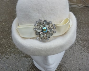 Mod Hat Vintage Winter White Wool Cap Rhinestone Jewel Decoration Made by Corona for the May Co.  1960s