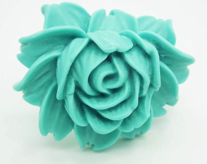 FLORAL RING  for women  with a new robin egg blue color.