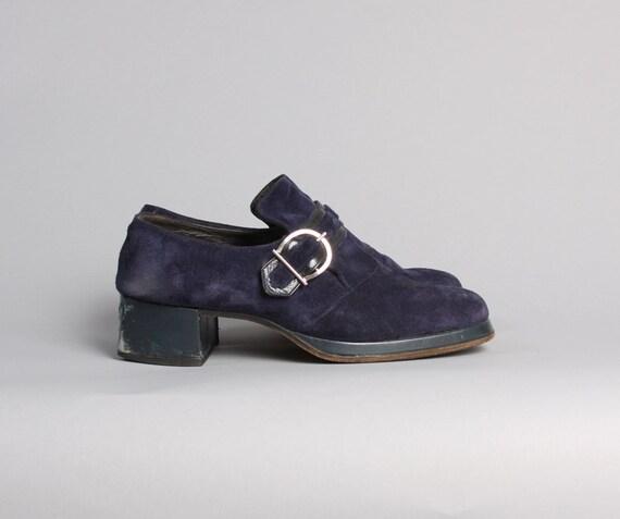 items similar to s 70s platform shoes blue suede