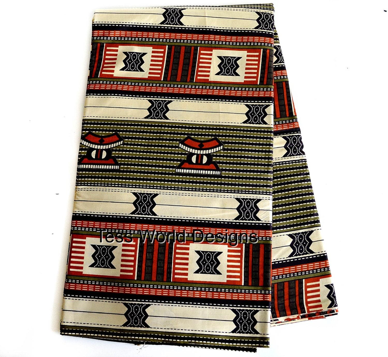African Fabric Beige Kente Cloth Print Kente Print Sold