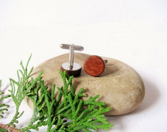 """Lacewood cuff links. Round wood cufflinks 5/8"""" (15mm) Gift for men"""