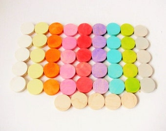 Forty eight Wood colorpalooza thumb tacks  Push pins made of painted maple wood.