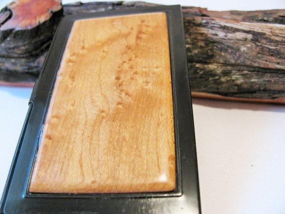 Wood business card case Birds eye maple and aluminium