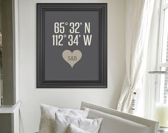 Wedding Gift // Personalized Latitude and Longitude Coordinates Wall Art Print // Gift for Wife // Gift for Mom // Custom Wedding Present
