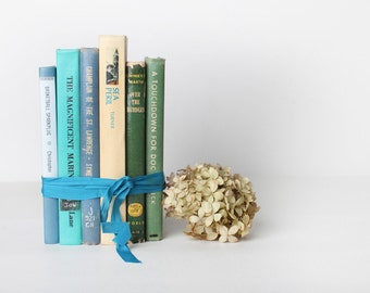 Green, Turquoise and Blue Vintage Book Set of Six