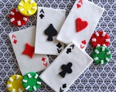 12 toppers,Fondant Las Vegas,Casino, poker party, fondant playing cards, poker chips, gambling party, edible cards, cake and cupcake toppers