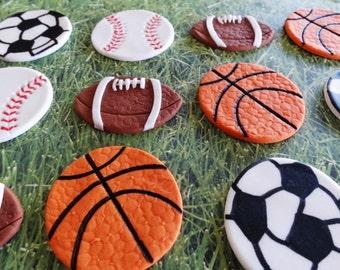 12 Fondant edible cupcake/cookie toppers - Sport Theme party  - Footballs/Basketballs/Soccer balls/Baseballs, all stars, fondant balls