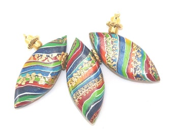 Colorful leaf shaped beads for Jewelry Making, 3 Polymer Clay Marquise beads in rainbow colors, unique stripes beads with touches of gold