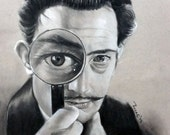 Salvador Dali Charcoal Drawing: One of a Kind Reese Hilburn Art