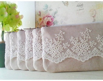 Bridesmaid small lace purse natural linen blend purse white ivory lace wedding gift