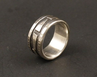 Rustic Organic Mans Wedding  Textured Recycled Silver On  Silver Jewelry Metalwork Ring