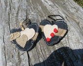 heart ornament,denim,rustic button,applique ,burlap,red buttons