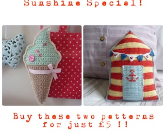 SUNSHINE SPECIAL! Crochet Ice-Creams and Beachhut cushions: Two PDF Patterns