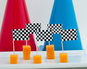 20 or 40 Checkered Food Flags, Car Party, Cars Birthday Party Cupcake Flags, Cars Party Checkered Food Flag