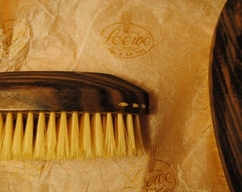 Art Deco Eye Brushes with Inlay...Pair....marked Japan LOEWE in Fiel A La Piel Box with tissue , lovely wood and brush grey brown beautiful