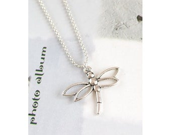 Unique Antique/Tibetan Silver Dragonfly Charm Pendant with 1.5mm silver Plated Fine Ball Chain Necklace
