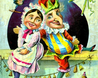 PUNCH and JUDY! Vintage Victorian Illustration. Vintage Victorian Illustration Digital Download. Printable Image. Fab for Framing!.