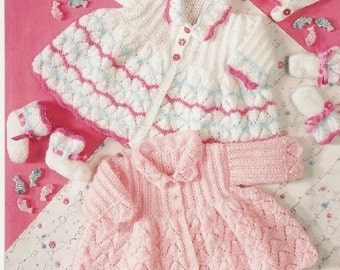 baby knitting pattern for  matinee jacket bonnet  and booties14/ 18 in chest  dk yarn