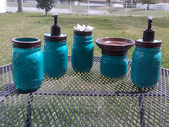 Ball Mason Jar Bathroom Set Turquoise Blue And Brown Full