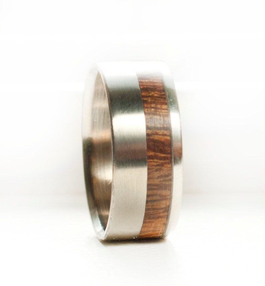 Male Wedding Bands Wood Inlay: Mens Wedding Band Offset Wood Inlay Ring Staghead Designs