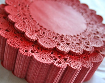 "50 Round 5"" DARK RED French Lace Paper Doilies"