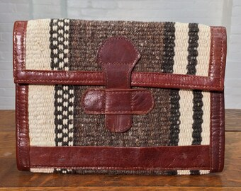 vintage woven wool and leather clutch // envelope clutch
