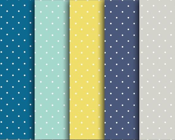 60 Off Sale Digital Scrapbook Paper Pack Cool Polka Dots Blue