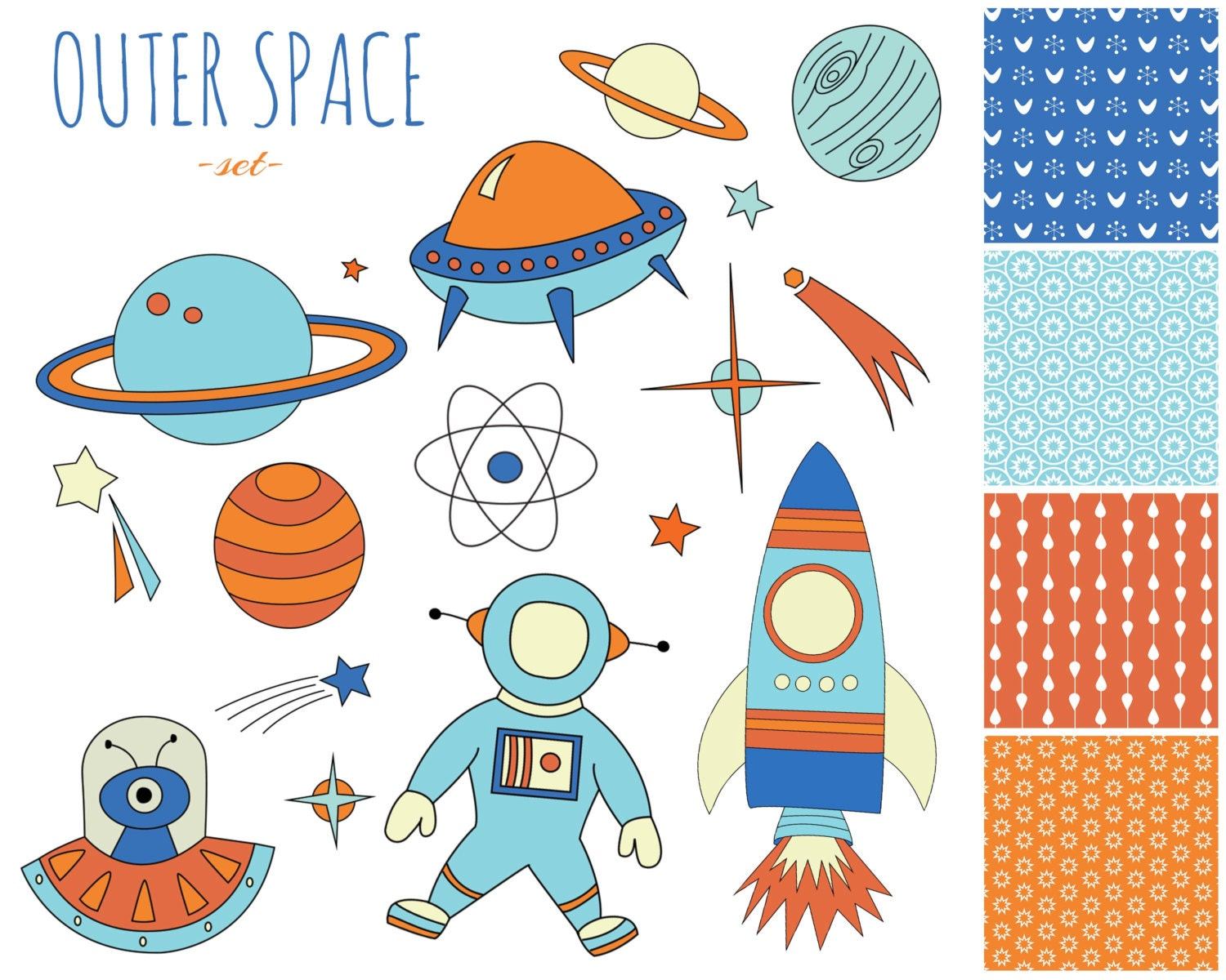 60 off sale space clipart digital paper set with clip art