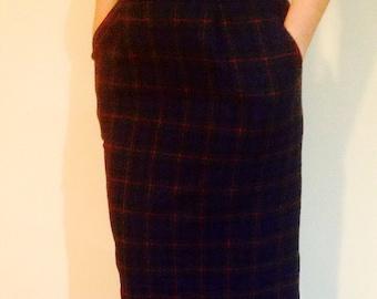 Vintage Pendleton Authentic Argyle Tartan Plaid Wool High Waisted Pencil Skirt