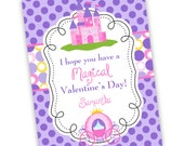 Princess Valentines Day Card - Purple Polka Dots, Pink Princess Castle, Carriage Personalized Valentines Day Cards - Digital Printable File