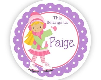 Name Tag Stickers - Purple, Green, Pink Girl Ice Skater Personalized Name Label Tag Stickers - 2 inch Round Tags - Back to School Name Label