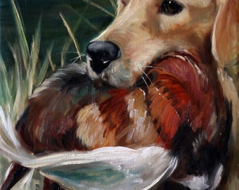 PRINT Golden Retriever Hunting Dog lover Art Signed by Mary Sparrow pheasant bird