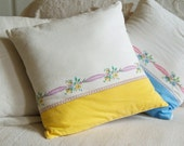 Repurposed Recycled Rescued Vintage linen flour sack  Handmade 14x14 floral yellow pillow cover