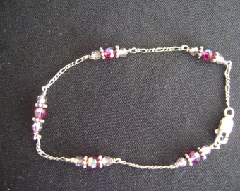 Sterling Silver and Glass Stones Bracelet