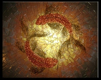 Signed Pre-Stretched Giclee PRINT On CANVAS of Original Gold Textured Koi Fish Carp Painting - Koi Dreams - Customer Chooses Size