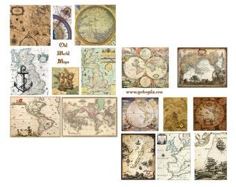 Old World Maps Digital Collage Set