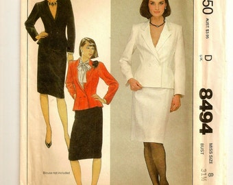 "A Fitted, Flared, Princess Seamed Jacket & Back Zip, Straight Skirt Sewing Pattern for Women: Uncut - Size 8, Bust 31-1/2"" • McCall's 8494"