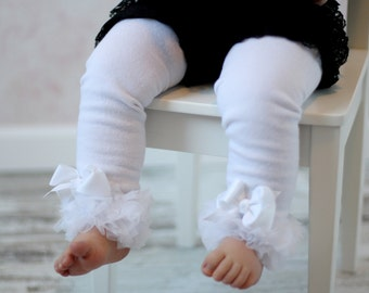White Leg Warmers Baby Outfit  leggings pants with tulle ruffles