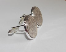 Luxury 1954 Sixpence Cufflinks for a 62nd birthday.  Original british sixpences inset in Silver Plated French Cufflinks backs 62nd